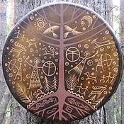 Музыкальные инструменты handmade. Livemaster - original item Three of the world. Drum leather. 45 cm. Handmade.