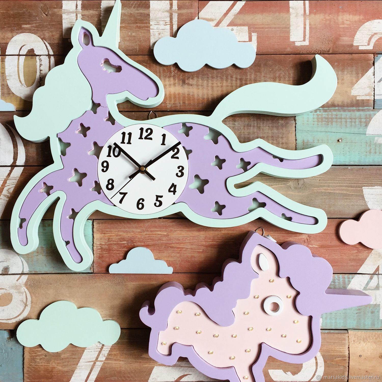 Clock Unicorn mint/lilac, Lamp, Moscow, Фото №1