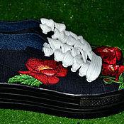 Обувь ручной работы. Ярмарка Мастеров - ручная работа кеды с вышивками. Handmade.