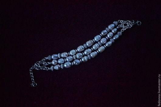 Браслеты ручной работы. Ярмарка Мастеров - ручная работа. Купить Браслет из натурального речного жемчуга  СЕРЕБРИСТАЯ ЛАВАНДА. Handmade. Белый