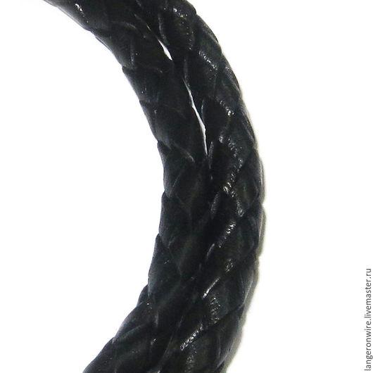 Для украшений ручной работы. Ярмарка Мастеров - ручная работа. Купить Шнур кожаный плетеный 5 мм. Цвет - черный глянцевый. Handmade.