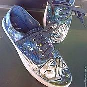 """Обувь ручной работы. Ярмарка Мастеров - ручная работа Кеды """"Ticket to the moon"""". Handmade."""