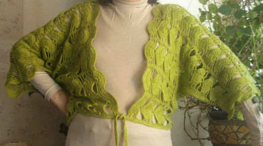 Кофты и свитера ручной работы. Ярмарка Мастеров - ручная работа. Купить Кардиган светло-зеленый короткий. Handmade. Салатовый, девушке