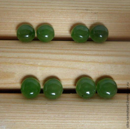 Серьги ручной работы. Ярмарка Мастеров - ручная работа. Купить Серьги пуссеты нефрит Игра цвета. Handmade. Зеленый