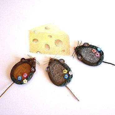 """Украшения ручной работы. Ярмарка Мастеров - ручная работа Брошь """"Мышь"""" лён. Handmade."""