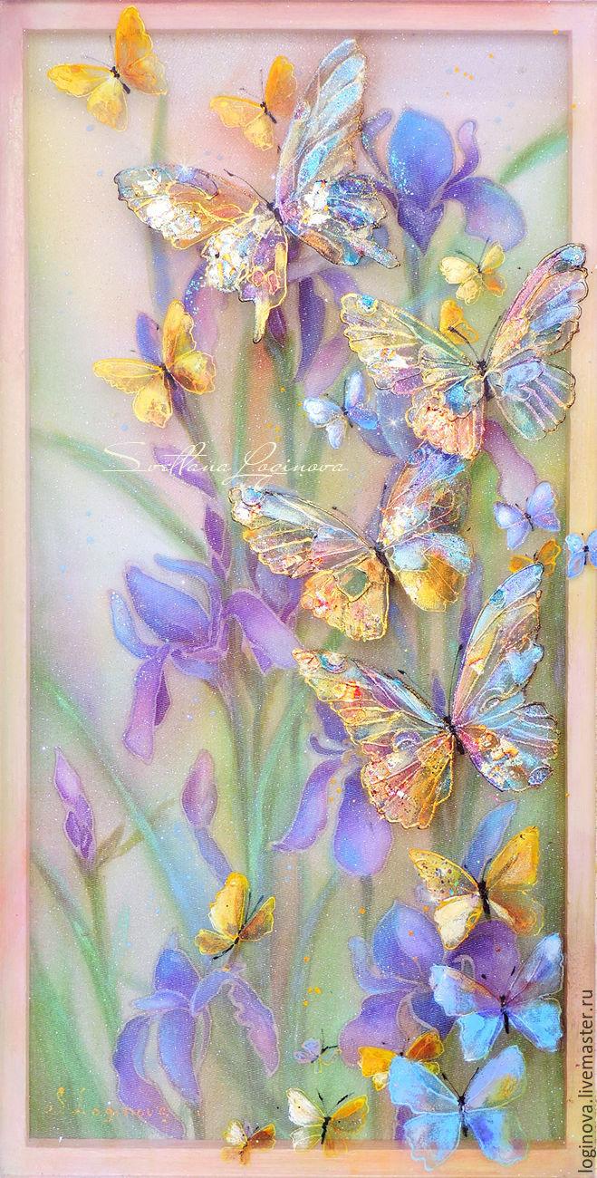 Весна... бабочки...ирисы -картина на шелке объемная, трехслойная, Картины, Находка,  Фото №1