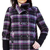 Одежда ручной работы. Ярмарка Мастеров - ручная работа Шерстяное пальто женское Enrica viola cellulare. Handmade.