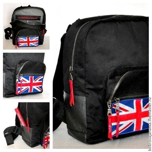 Рюкзаки ручной работы. Ярмарка Мастеров - ручная работа. Купить Мужская сумка рюкзак черный школьный Английский флаг Подарок подростку. Handmade.
