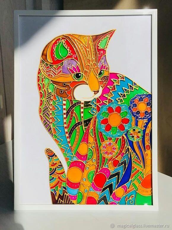 """Картина на стекле """"Солнечная кошка"""" Витражная роспись, Картины, Москва,  Фото №1"""