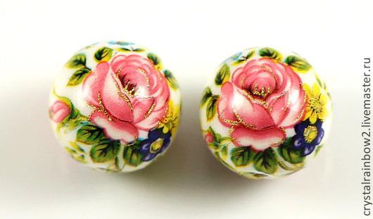 """Для украшений ручной работы. Ярмарка Мастеров - ручная работа. Купить Бусины Тенша """"Розы на белом"""" 12 мм (арт. 37ОР ). Handmade."""