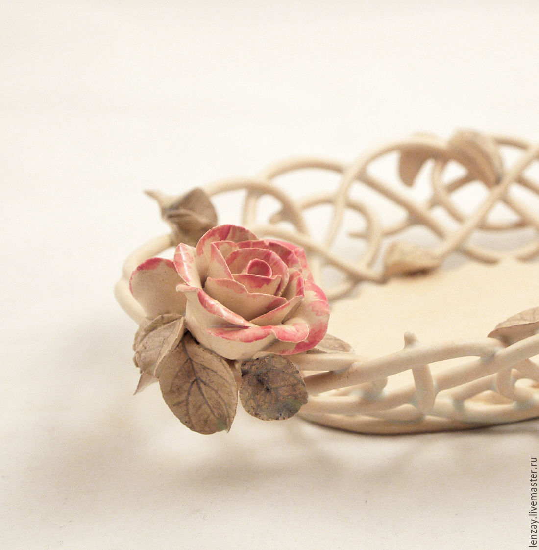 The Candy Bowl `Transparency`. Braided ceramic and ceramic flowers Elena Zaichenko