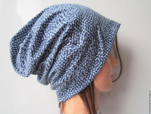 шапка-носок  из итальянского тонкого трикотажа (100% хлопок) сине-голубой расцветки.