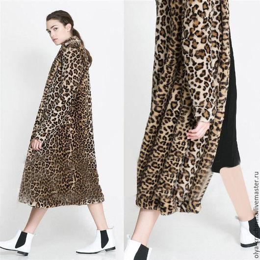 Верхняя одежда ручной работы. Ярмарка Мастеров - ручная работа. Купить Меховое пальто с леопардовым принтом. Handmade. Комбинированный, пальто