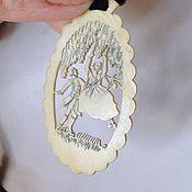 Винтаж ручной работы. Ярмарка Мастеров - ручная работа Подвес-кулон Бидермеер Резанная слоновая кость. Парочка на качелях. Handmade.