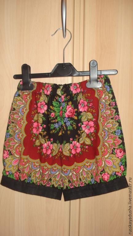 Одежда для девочек, ручной работы. Ярмарка Мастеров - ручная работа. Купить Шорты из Павловопосадских платков. Handmade. Ярко-красный, оригинально