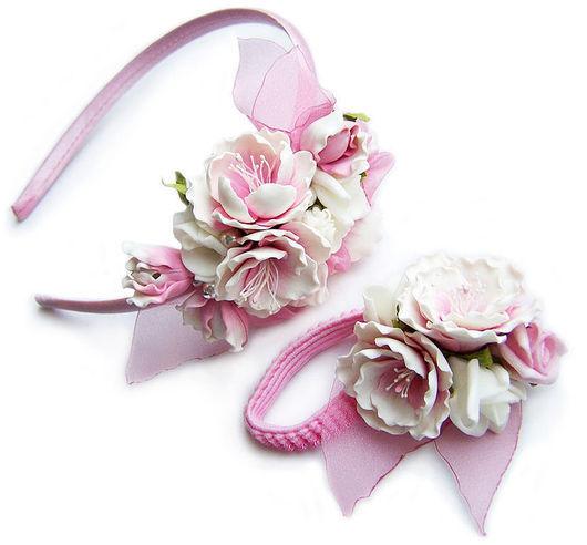 """Диадемы, обручи ручной работы. Ярмарка Мастеров - ручная работа. Купить Комплект """"Цветение"""". Handmade. Бледно-розовый, резинка с цветком"""