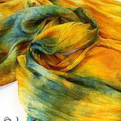 Аксессуары handmade. Livemaster - original item Bright, yellow-green-blue silk scarf, batik. Handmade.