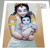 Схемы для вышивки ручной работы. Ярмарка Мастеров - ручная работа Холст с печатью премиум(вышивка бисер) Мама Яшода и Кришна 35х44. Handmade.