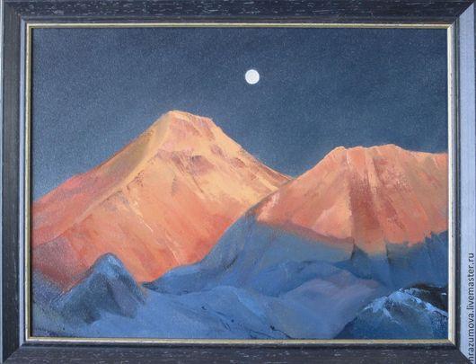 Пейзаж ручной работы. Ярмарка Мастеров - ручная работа. Купить Тибет. Закат в полнолуние. Handmade. Тибет, горы, медитация, энергия