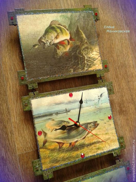 """Часы для дома ручной работы. Ярмарка Мастеров - ручная работа. Купить """"Рыбалка"""",часы-панно.. Handmade. Болотный, часы, Декупаж"""