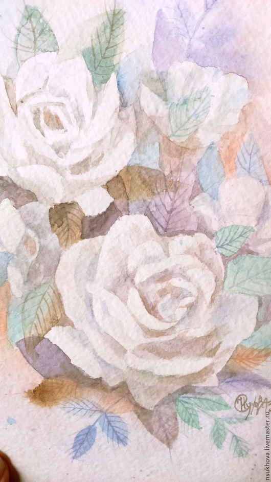 """Открытки для женщин, ручной работы. Ярмарка Мастеров - ручная работа. Купить Картина акварелью и открытки """"Белые розы"""". Handmade. Белый"""