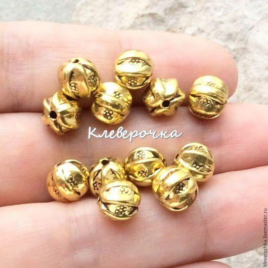 Для украшений ручной работы. Ярмарка Мастеров - ручная работа. Купить _Бусины 8 мм цвет золото металл для украшений. Handmade.
