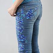 """Джинсы ручной работы. Ярмарка Мастеров - ручная работа Роспись на джинсах """"Синие васильки"""". Handmade."""