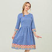 Одежда handmade. Livemaster - original item Dress linen boho blue melange. Handmade.