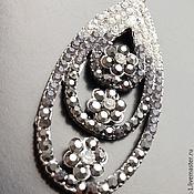 Материалы для творчества handmade. Livemaster - original item Large pendant art. 3-28 with cubic Zirconia and silver plated. Handmade.