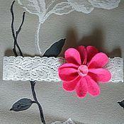 """Работы для детей, ручной работы. Ярмарка Мастеров - ручная работа Повязка на голову с цветком """"Амелия"""", розовый или сирень. Handmade."""