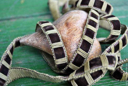 """Шитье ручной работы. Ярмарка Мастеров - ручная работа. Купить Тесьма плетенье/бархат """"коричневый"""" (Италия). Handmade. Коричневый, лента, для бижутерии"""