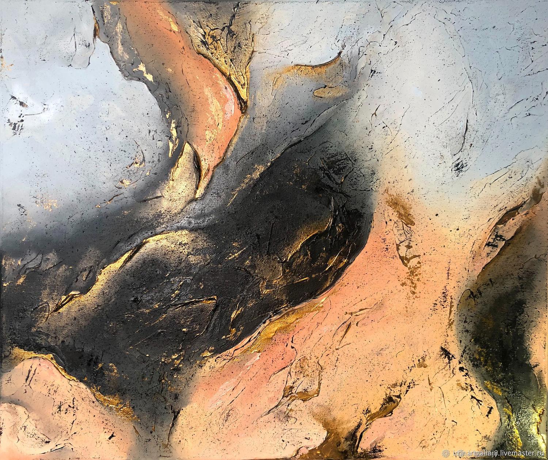 Купить интерьерную картину художника современная абстракция с золотом, Картины, Москва,  Фото №1