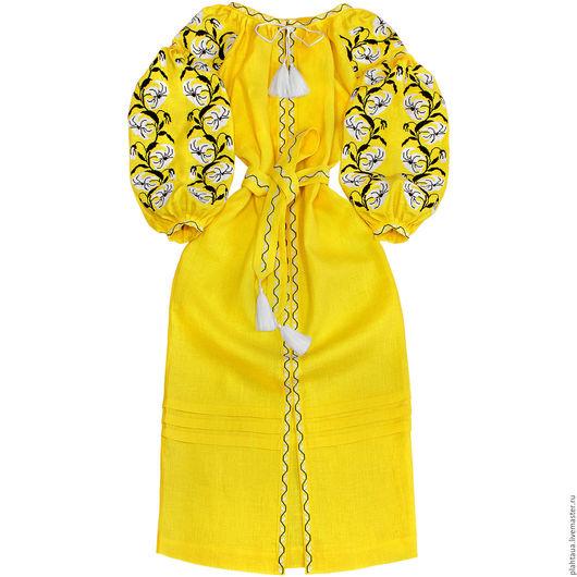 """Платья ручной работы. Ярмарка Мастеров - ручная работа. Купить Длинное платье """"Аромат Лилии"""". Handmade. Желтый, лилии"""