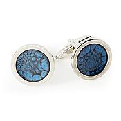 Украшения handmade. Livemaster - original item Dark blue cufflinks in silver