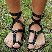 Обувь ручной работы handmade. Livemaster - original item mens greek sandals black full grain leather. Handmade.