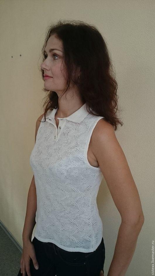 Блузки ручной работы. Ярмарка Мастеров - ручная работа. Купить Блуза лён вязаная. Handmade. Однотонный, вязаная, с застежкой