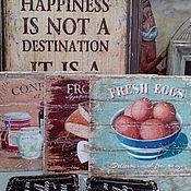 Картины и панно ручной работы. Ярмарка Мастеров - ручная работа Панно 3 шт деревянные 35х30 см_Кухня Прованс W0076. Handmade.