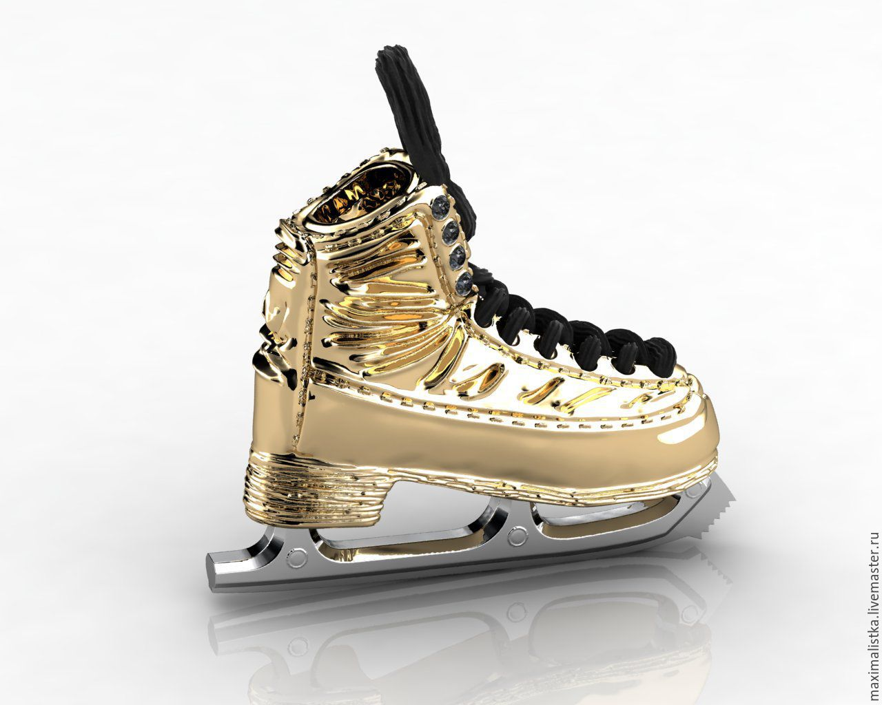 Gold pendant 'Skate skater' with diamonds, skates, Pendants, Moscow,  Фото №1
