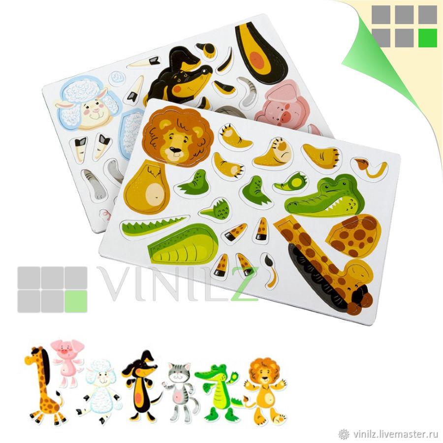 Магнитные пазлы Животные для магнитной доски, холодильника, 7 животных