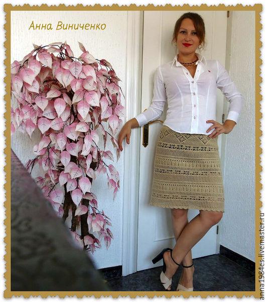 Юбки ручной работы. Ярмарка Мастеров - ручная работа. Купить Вязаная юбка,,Афродита,,. Handmade. Бежевый, юбка, бежевая юбка