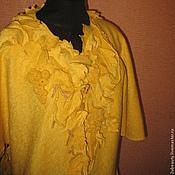 """Одежда ручной работы. Ярмарка Мастеров - ручная работа Кардиган""""Виноградная лоза"""".Кардиган жёлтый.Кардиган из лодена OOAK.. Handmade."""