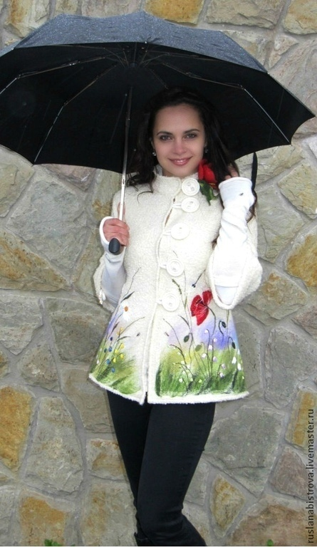 Outer Clothing handmade. Livemaster - handmade. Buy KARINA.Knitted coat, embroidery, beech