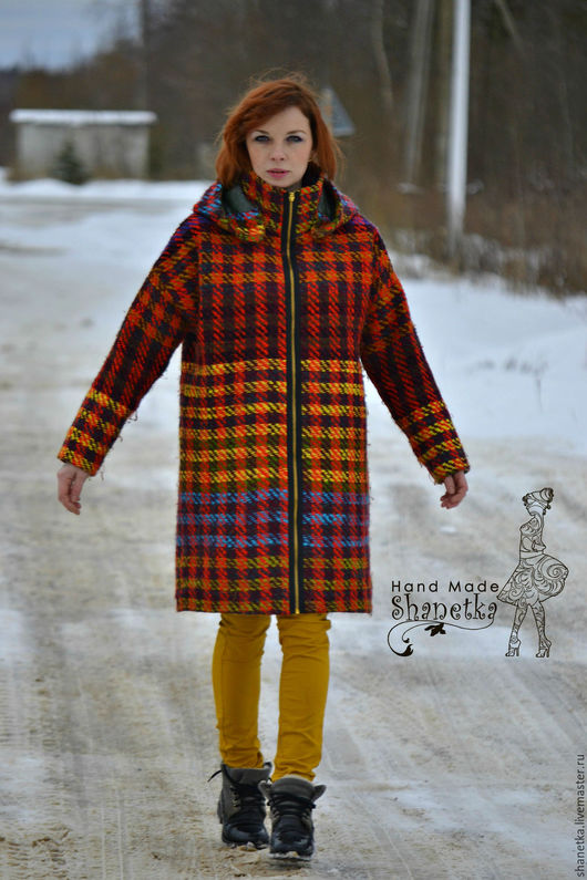 Верхняя одежда ручной работы. Ярмарка Мастеров - ручная работа. Купить Пальто оверсайз демисезонное в клетку женское. Handmade.