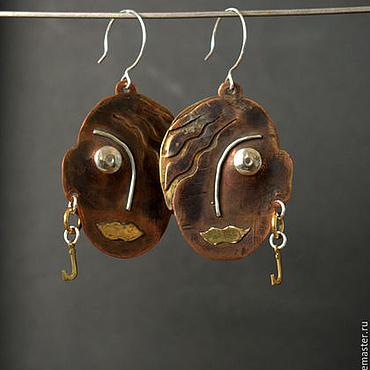 Украшения ручной работы. Ярмарка Мастеров - ручная работа Серьги из меди, латуни и серебра Julia. Handmade.
