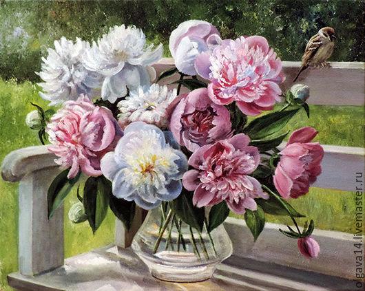 Картины цветов ручной работы. Ярмарка Мастеров - ручная работа. Купить Пионы  в саду. Handmade. Комбинированный, картина в подарок, картина