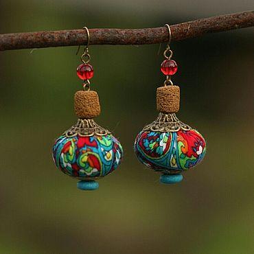 Украшения ручной работы. Ярмарка Мастеров - ручная работа Серьги с текстильными бусинами. Handmade.