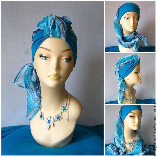 """Шляпы ручной работы. Ярмарка Мастеров - ручная работа. Купить """"Круиз"""" - 07 тюрбан летний пляжный чалма хиджаб. Handmade."""