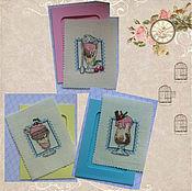 Открытки handmade. Livemaster - original item Cross stitch greeting card Ice Cream. Handmade.