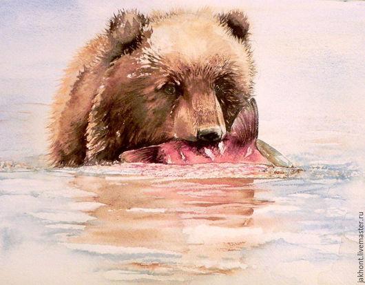 Животные ручной работы. Ярмарка Мастеров - ручная работа. Купить Первый улов. Handmade. Медведь, акварель, картина акварелью, вода