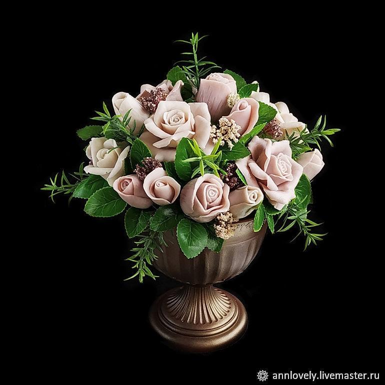 Мыло ручной работы. Ярмарка Мастеров - ручная работа. Купить Розы в вазоне. Интерьерная композиция из мыла. Кофе с молоком. Handmade.